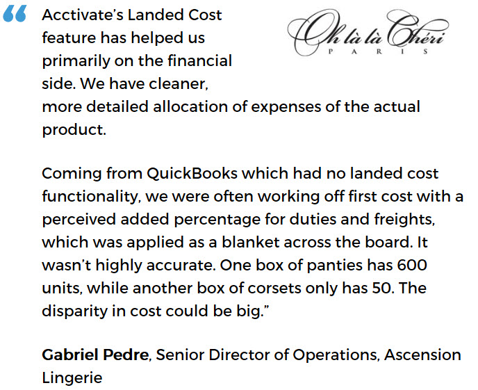Acctivate apparel inventory management software user - Ascension Lingerie