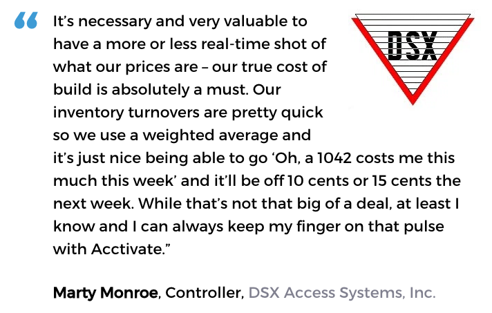 Electronics inventory software user, DSX Access Systems, Inc.