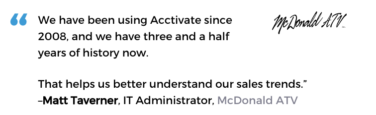 Acctivate auto parts software user, McDonald ATV