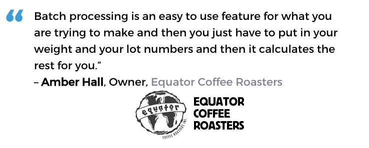 Acctivate coffee roasting software user, Equator Coffee Roasters