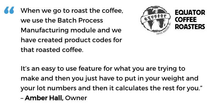 Acctivate for QuickBooks batch manufacturing / process manufacturing software user, Equator Coffee Roasters