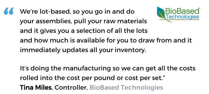 Acctivate for QuickBooks batch process manufacturing software user, BioBased Technologies