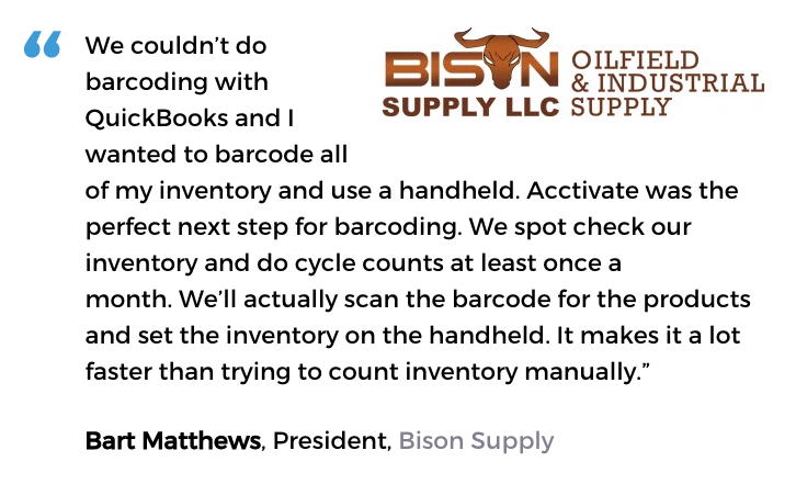 Acctivate inventory software and barcodes user, Bison Supply