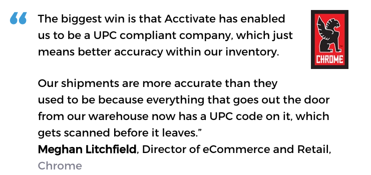 Acctivate inventory software and barcodes user, Chrome