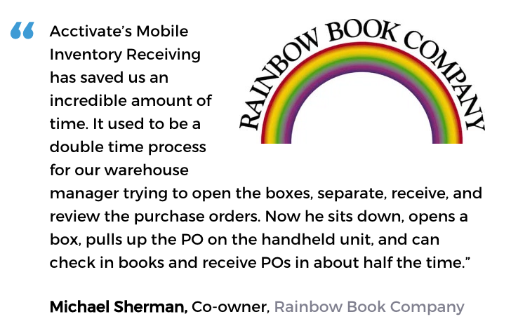 Acctivate inventory for QuickBooks barcode user, Rainbow Book Company