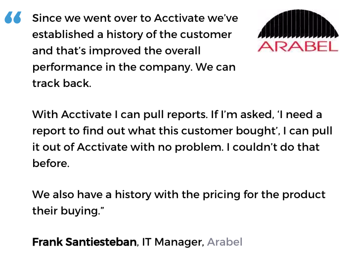 Acctivate inventory and customer service software user, Arabel