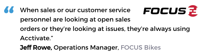 Acctivate inventory and customer service software user, Focus