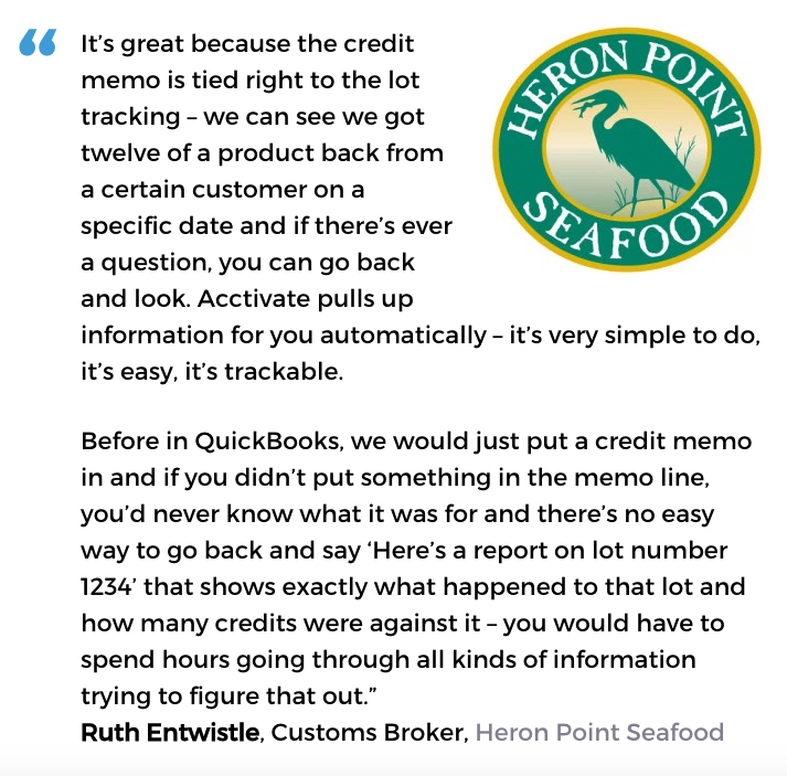 Acctivate inventory and customer service software user, Heron Point Seafood