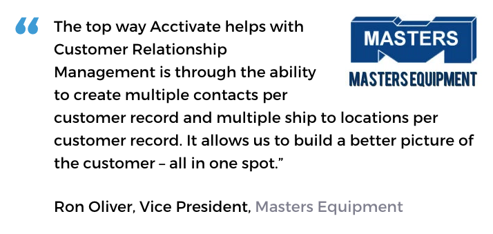 Acctivate inventory and customer service software user, Masters Equipment