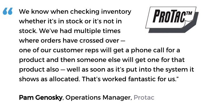 Acctivate inventory and customer service software user, Protac