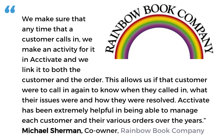 Acctivate inventory and customer service software user, Rainbow Book Company