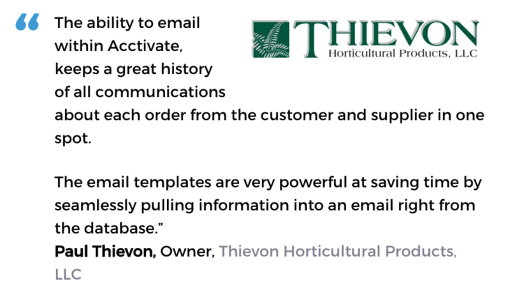 Acctivate inventory and customer service software user, Thievon