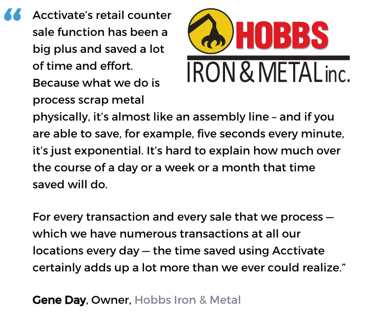 Acctivate inventory and retail counter software user, Hobbs Iron & Metal