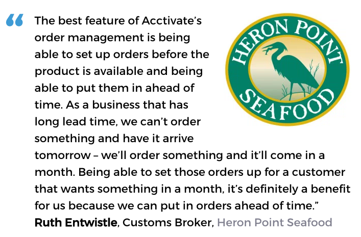 Acctivate inventory and order processing software user, Heron Point Seafood