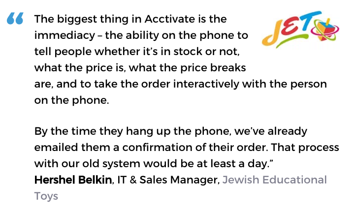 Acctivate inventory and order processing software user, Jewish Educational Toys