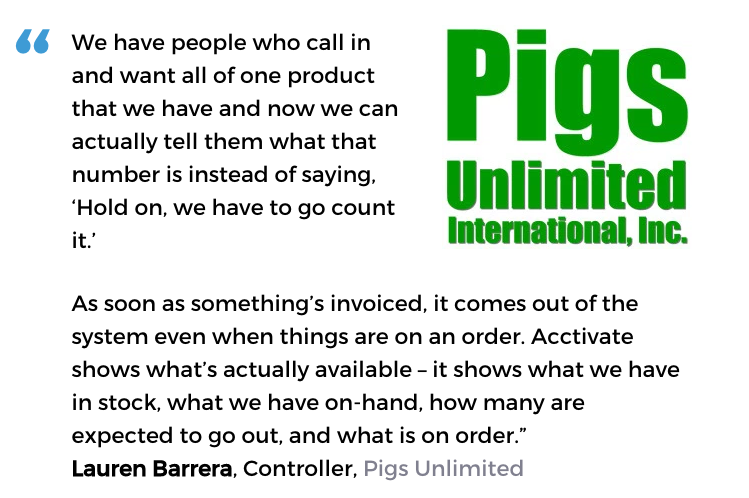 Acctivate inventory and order processing software user, Pigs Unlimited International