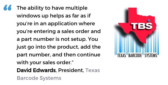 Acctivate inventory and order processing software user, Texas Barcode Systems