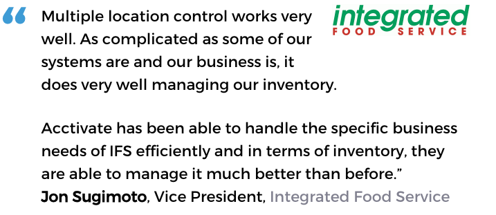 Acctivate warehouse software user, Integrated Food Service