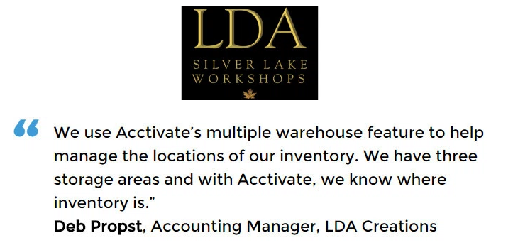 Acctivate for QuickBooks warehouse software user, LDA Creations