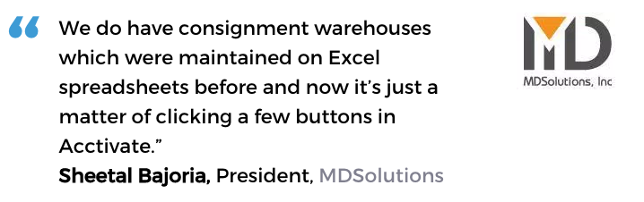 Acctivate Warehouse inventory system user, MD Solutions