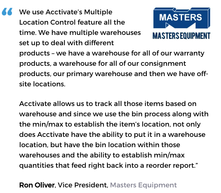 Acctivate for QuickBooks warehouse software user, Masters Equipment
