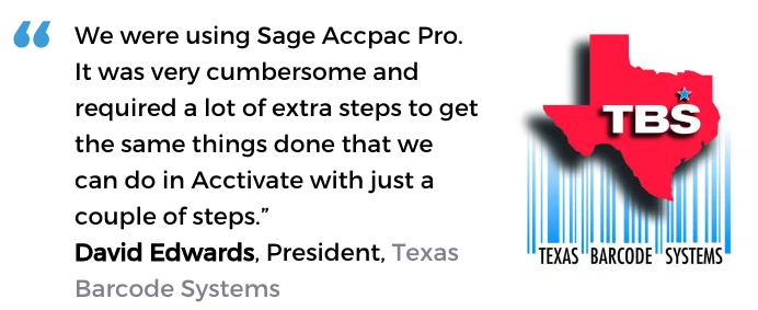 Acctivate user, Texas Barcode Systems