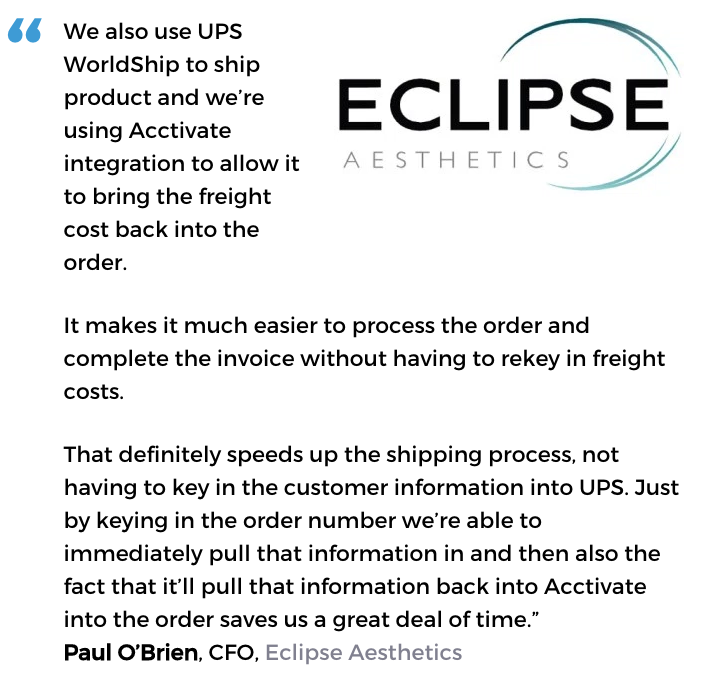 Acctivate inventory management & order fulfillment software user, Eclipse Aesthetics