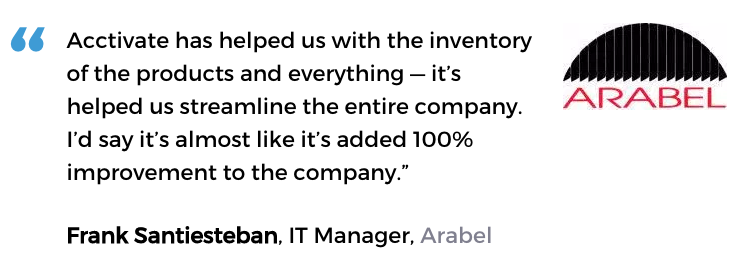Acctivate inventory management software user, Arabel