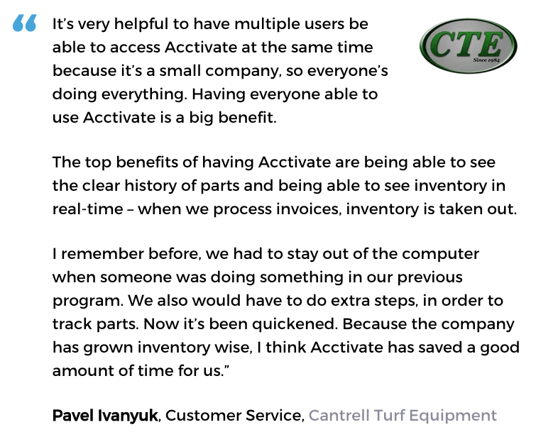 Acctivate inventory management software user, Cantrell Turf Equipment