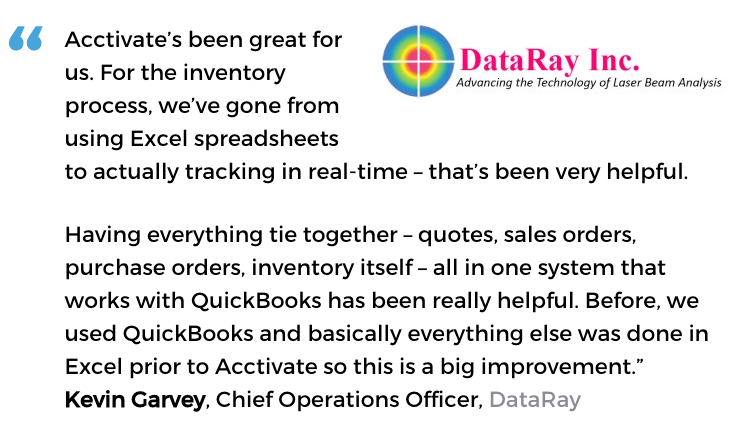 Acctivate inventory and warehouse management user, DataRay