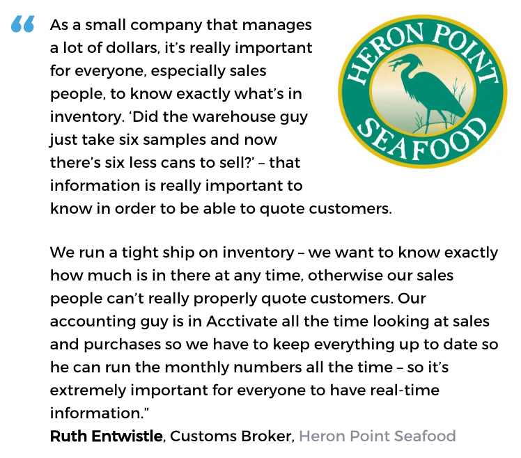 Acctivate inventory management software user, Heron Point Seafood