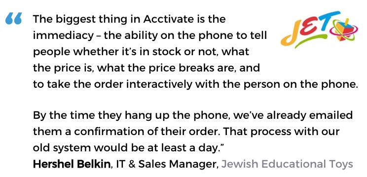 Acctivate inventory management software user, Jewish Educational Toys