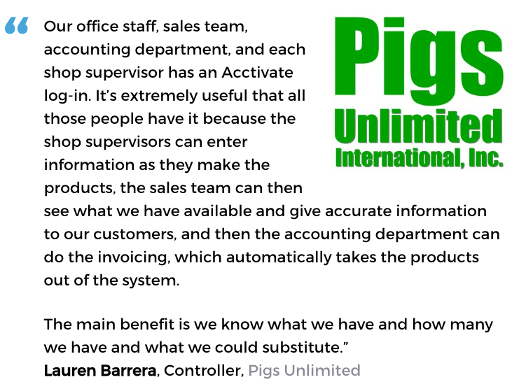 Acctivate inventory management software user, Pigs Unlimited