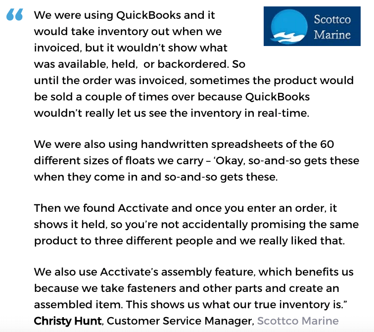 Acctivate inventroy software user, Scottco Marine
