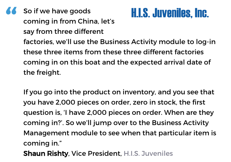 Business activity monitoring user, H.I.S. Juveniles