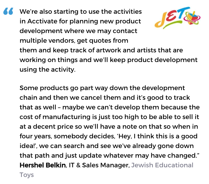 Business activity monitoring user, Jewish Educational Toys