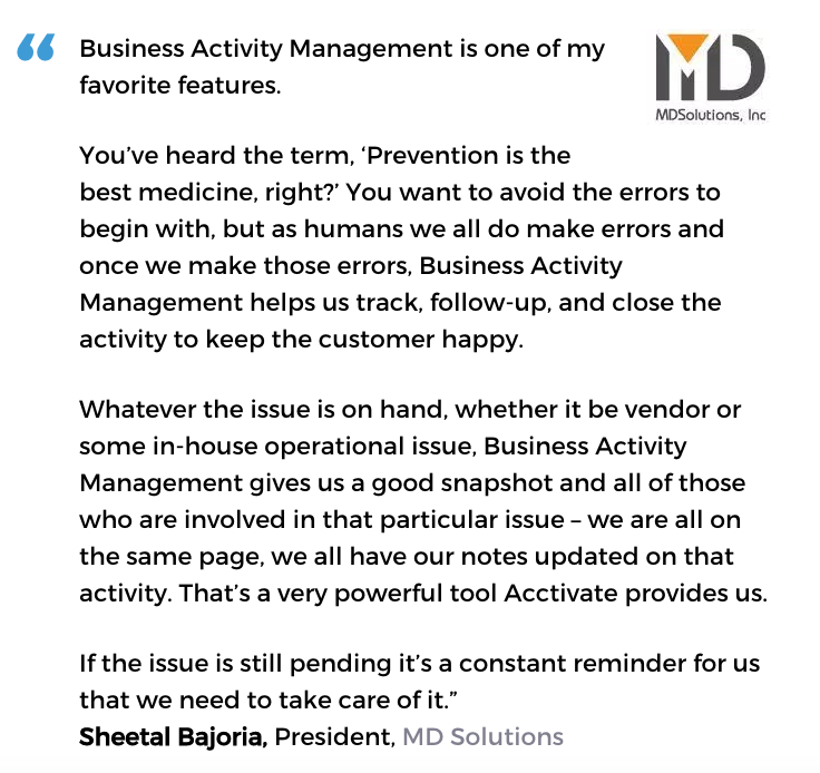 Business activity monitoring user, MD Solutions