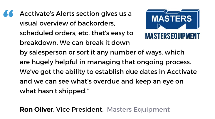 Business activity monitoring user, Masters Equipment