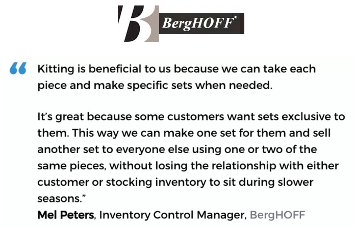 Acctivate inventory & bill of materials software with kitting & assemblies user, BergHOFF