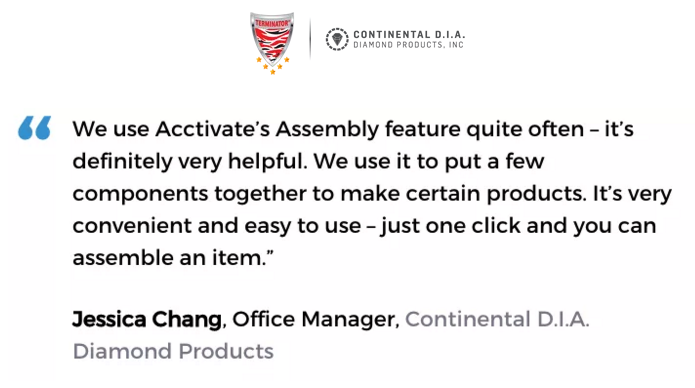 Acctivate inventory & bill of materials software with kitting & assemblies user, Continental D.I.A. Diamond Products