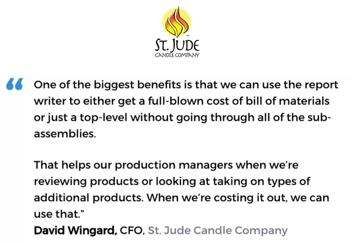 Acctivate inventory & bill of materials software with kitting & assemblies user, St. Jude Candle Company