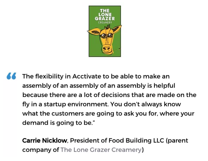 Acctivate inventory & bill of materials software with kitting & assemblies user, The Lone Grazer Creamery