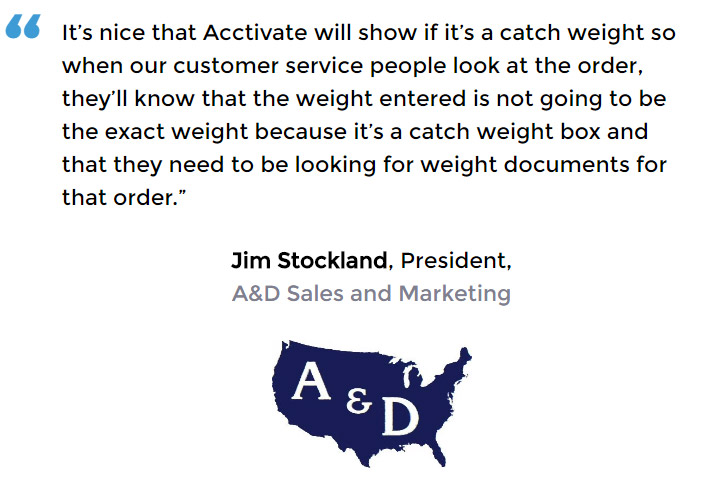 Acctivate inventory software with catch weight user - A&D Sales and Marketing