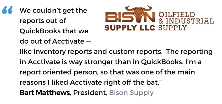 Acctivate inventory software with custom reporting user, Bison Supply