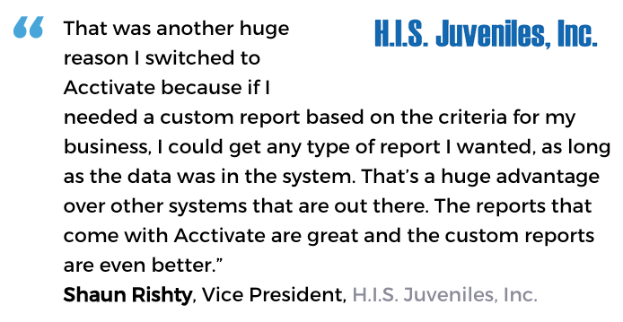 Acctivate inventory software with custom reporting user, H.I.S. Juveniles, Inc.