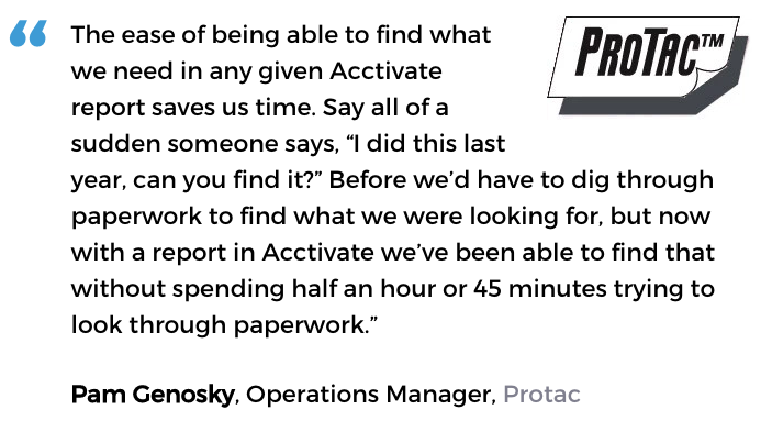 Acctivate inventory software with custom reporting user, ProTac