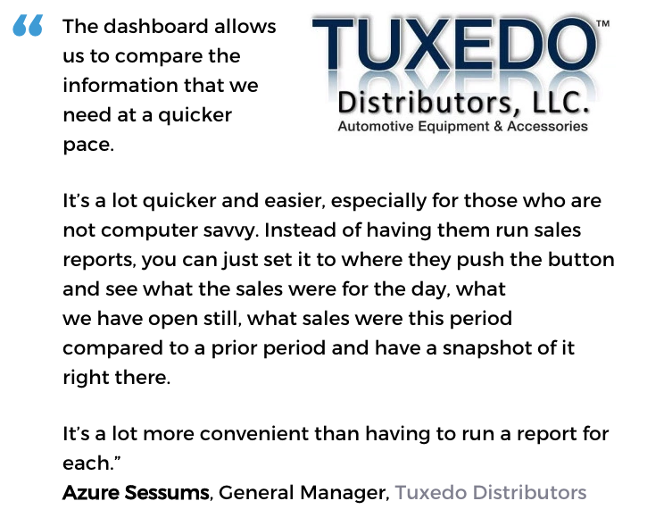 Acctivate inventory dashboard user, Tuxedo Distributors