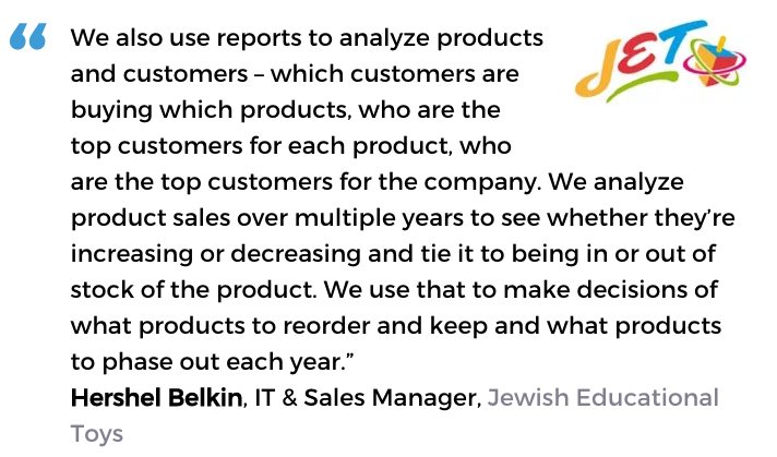 Acctivate inventory and decision support software user, Jewish Educational Toys