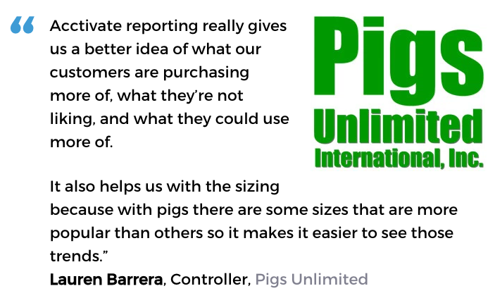 Acctivate inventory forecasting software user, Pigs Unlimited