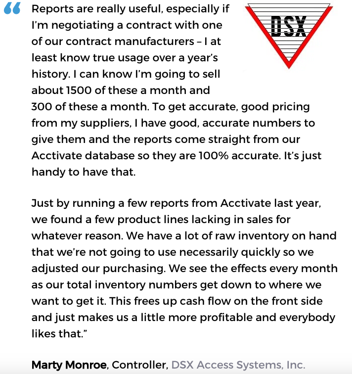 Acctivate inventory forecasting software user, DSX Access Systems